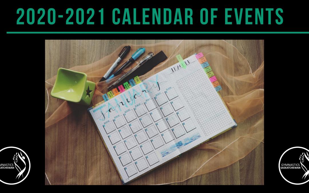 2020-2021 Gym Sask Calendar of Events